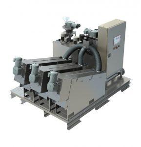 3D model of a sludge dewatering screw press